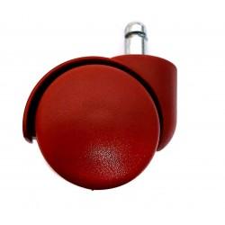 Колеса (ролики) для офисного кресла, цвет красный, пластик  (комплект 5шт)